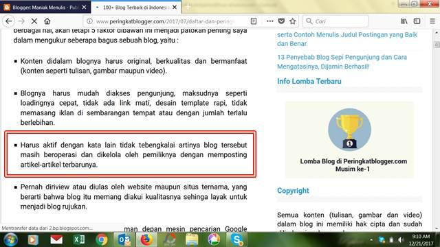 Kriteria Peringkat Blog Terbaik Indonesia Ala Peringkat Blogger