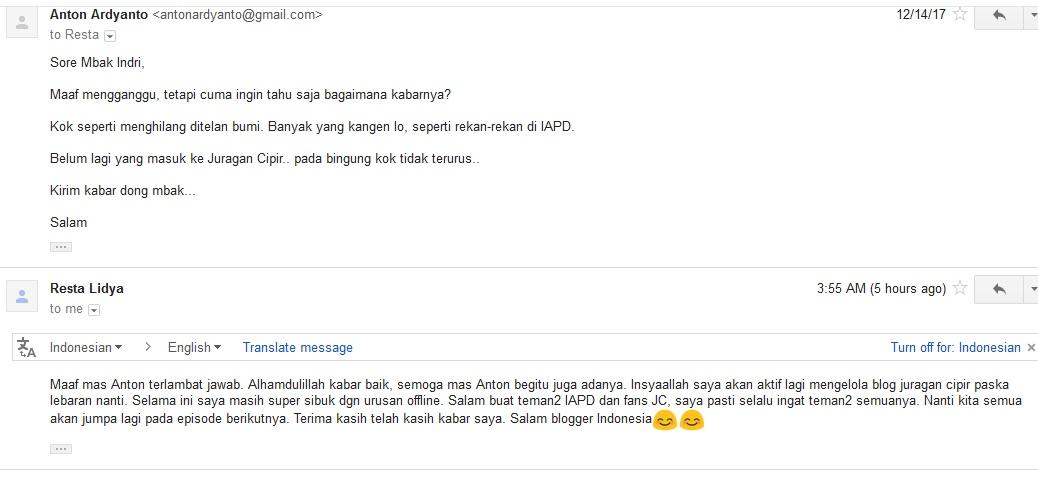 Mbak Indri Lidiawati Bakal Kembali Ngeblog