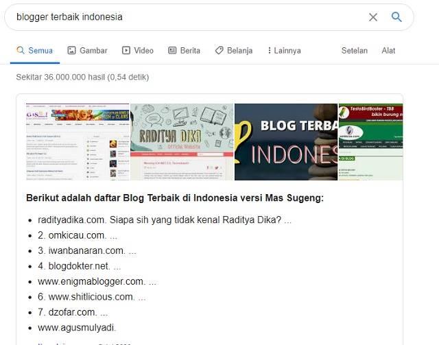 Hasil pencarian Google Blogger Terbaik Indonesia A