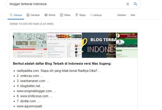 Hasil pencarian Google Blogger Terkenal Indonesia A