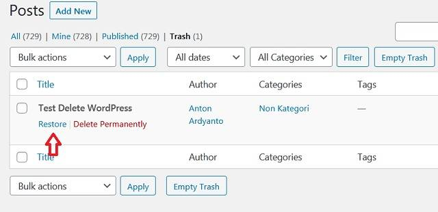 Mengembalikan Tulisan Yang Sudah Dihapus/Terhapus Di WordPress