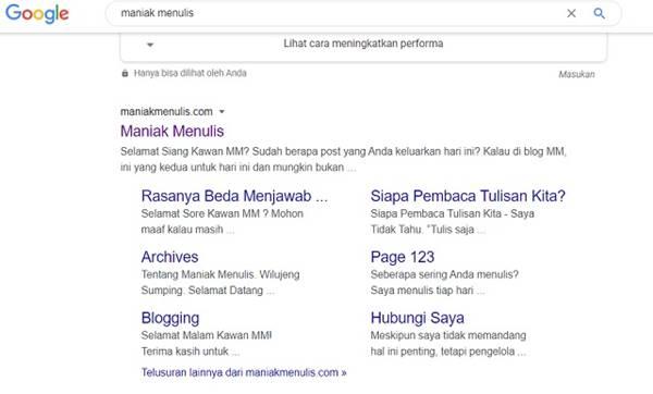 Google Sitelinks Lebih Mudah Didapat blog WordPress