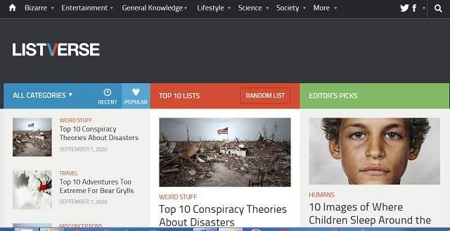 Listverse - Daftar 10 Terbaik Dengan 30 juta Pageview Setiap Bulan