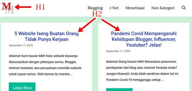 Sub Judul H1 Dan H2 : Homepage dan Konten (Artikel) Berbeda