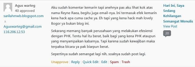 Kasus Komentar Muncul Atas Nama Orang Lain (WordPress)