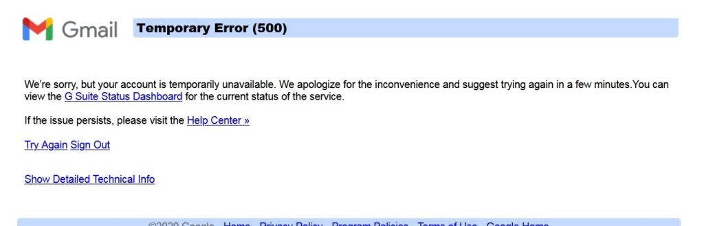 Apakah Server Google Down? Gmail dan Blogger/Blogspot Error