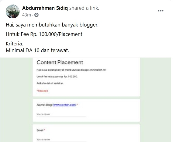 job untuk blogger